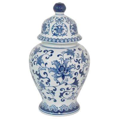 Ceramic Blue and White Temple Jar