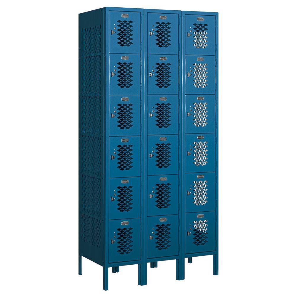 Salsbury Industries 76000 Series 36 in. W x 78 in. H x 18 in. D Six Tier Box Style Vented Metal Locker Unassembled in Blue