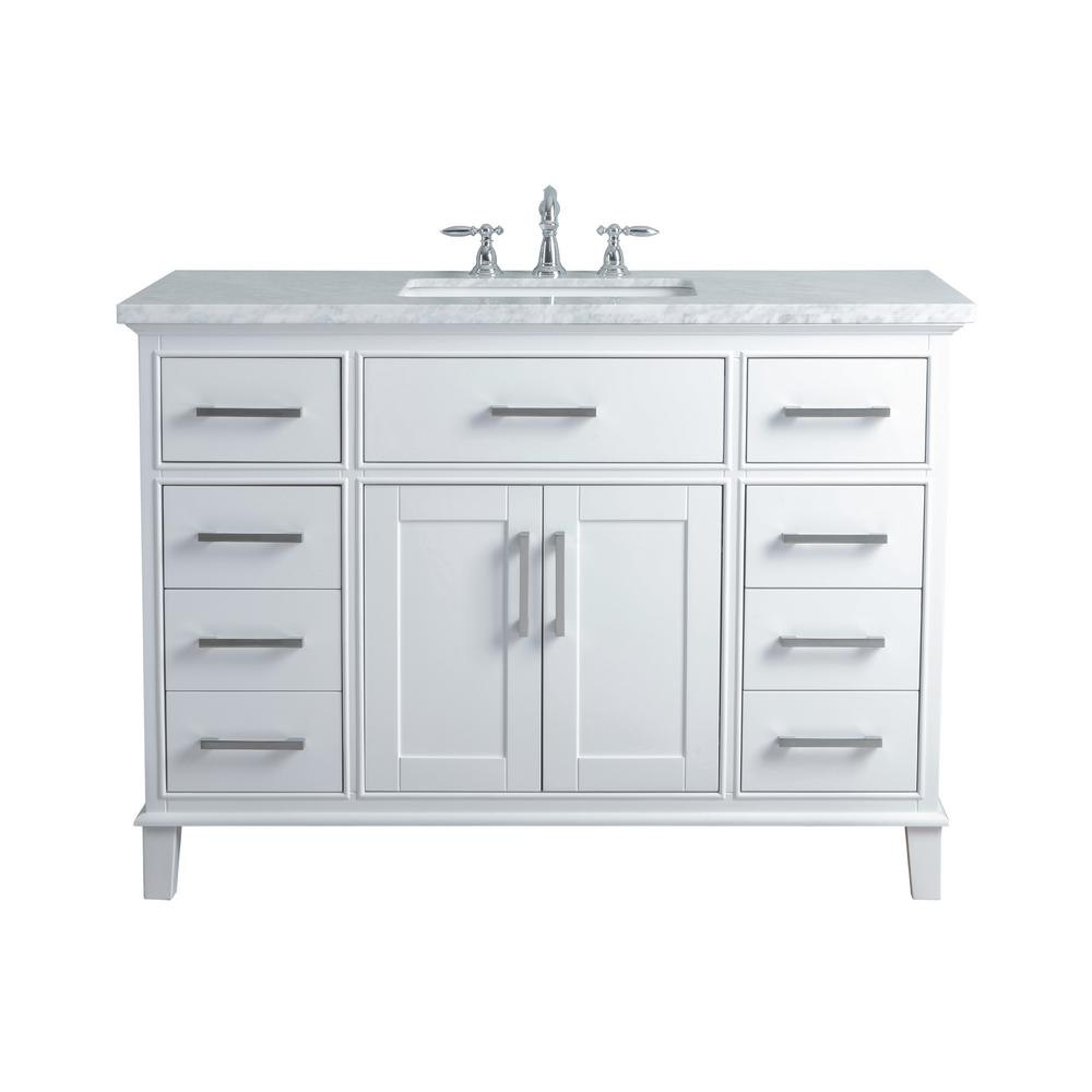 Stufurhome 48 In Leigh Single Sink Bathroom Vanity In White With Carrara Marble Vanity Top In White With White Basin