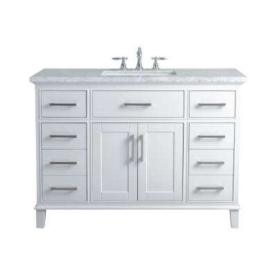 48 In. Leigh Single Sink Bathroom Vanity In White With Carrara ...