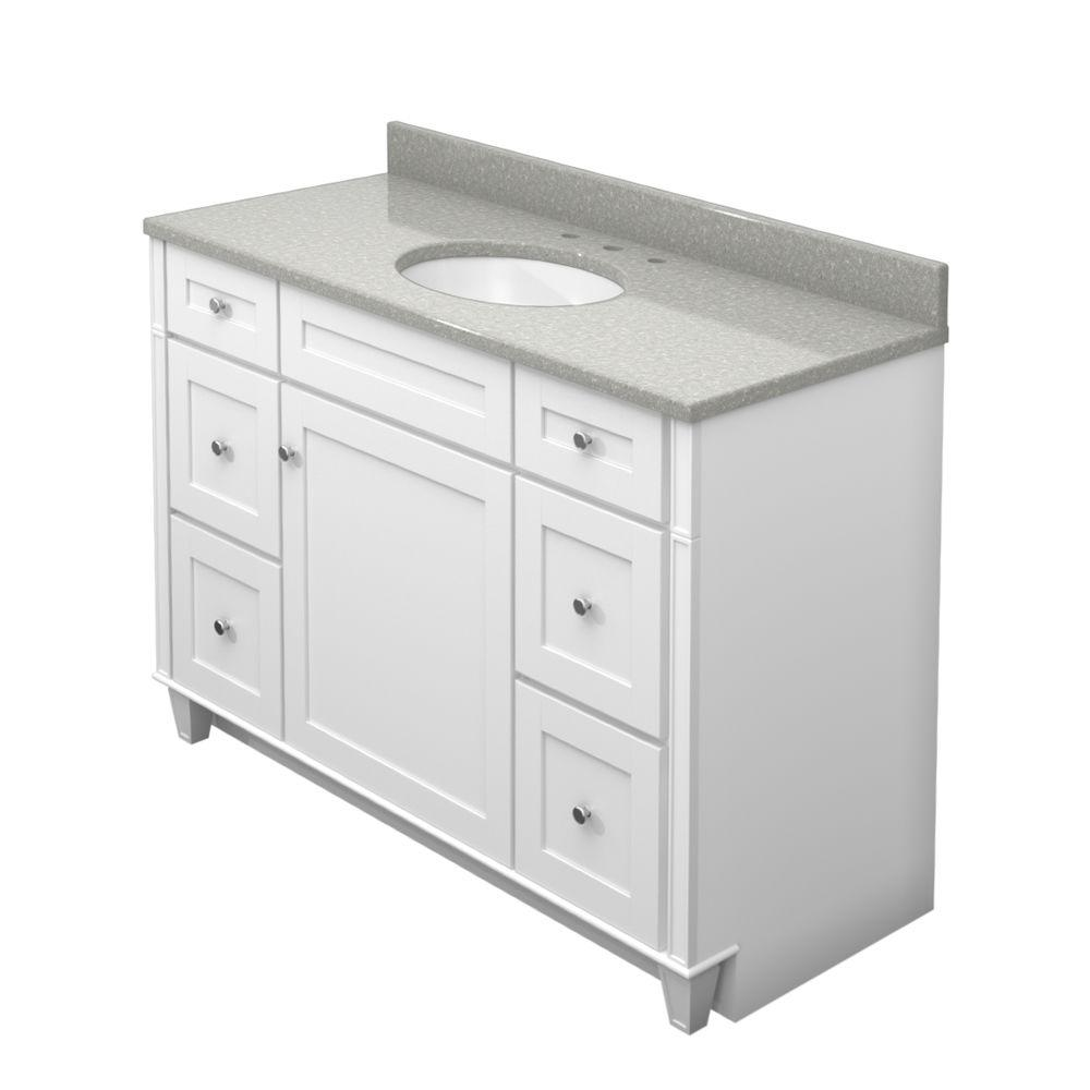 KraftMaid 48 in. Vanity in Dove White with Natural Quartz Vanity Top in Painted Turtle and White Sink
