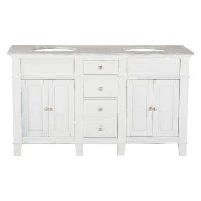 60 in. W x 23 in. D Solid Hardwood Double Vanity in Swiss White with Solid Marble Top in Sierra White