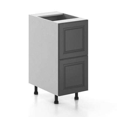 Ready to Assemble 15x34.5x24.5 in. Buckingham 2-Deep Drawer Base Cabinet in White Melamine and Door in Gray
