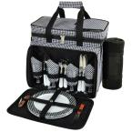 Deluxe Picnic Cooler with Blanket Equipped for 4 in Houndstooth