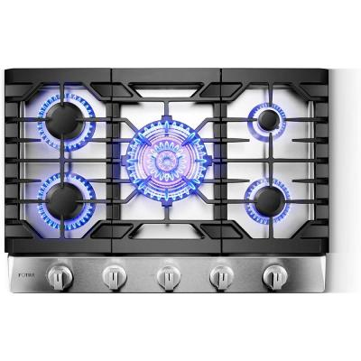 Tri-Ring 30 in. Gas Cooktop in Stainless Steel with 5 Burners Including Flame Failure Device