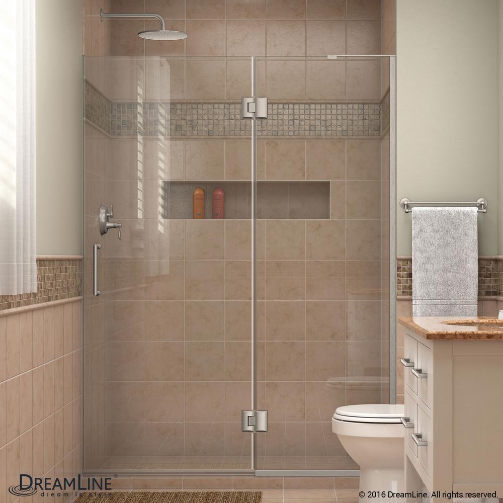 DreamLine Unidoor-X 50 in. x 72 in. Frameless Pivot Shower Door in Brushed Nickel