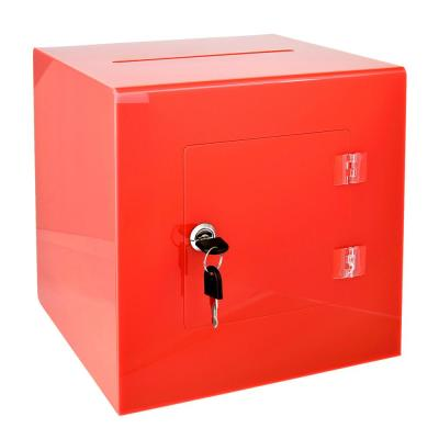10 in. x 10 in. x 10 in. Acrylic Suggestion Donation Box with Easy Open Rear Door, Red