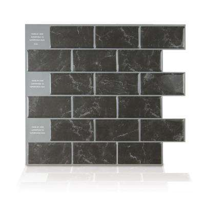 Subway Marbella Black 10.95 in. W x 9.70 in. H Black Peel and Stick Decorative Mosaic Wall Tile Backsplash (6-Pack)