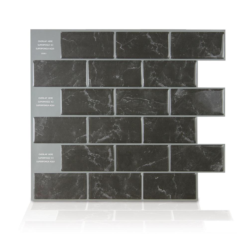 Smart Tiles Subway Marbella Black 10.95 In. W X 9.70 In. H Black Peel