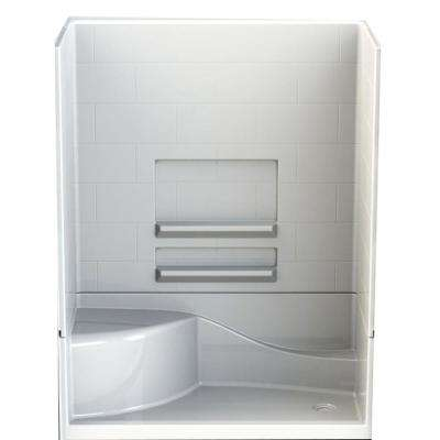 Varia Subway 30 in. x 60 in x 76 in. 4 -pc AcrylX Acrylic Finished Shower Stall w/Right Drain & Left Seat in White