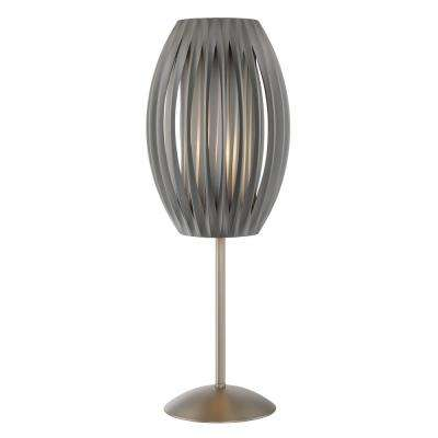 Stainless Steel Table Lamp With Gray Fabric Shade