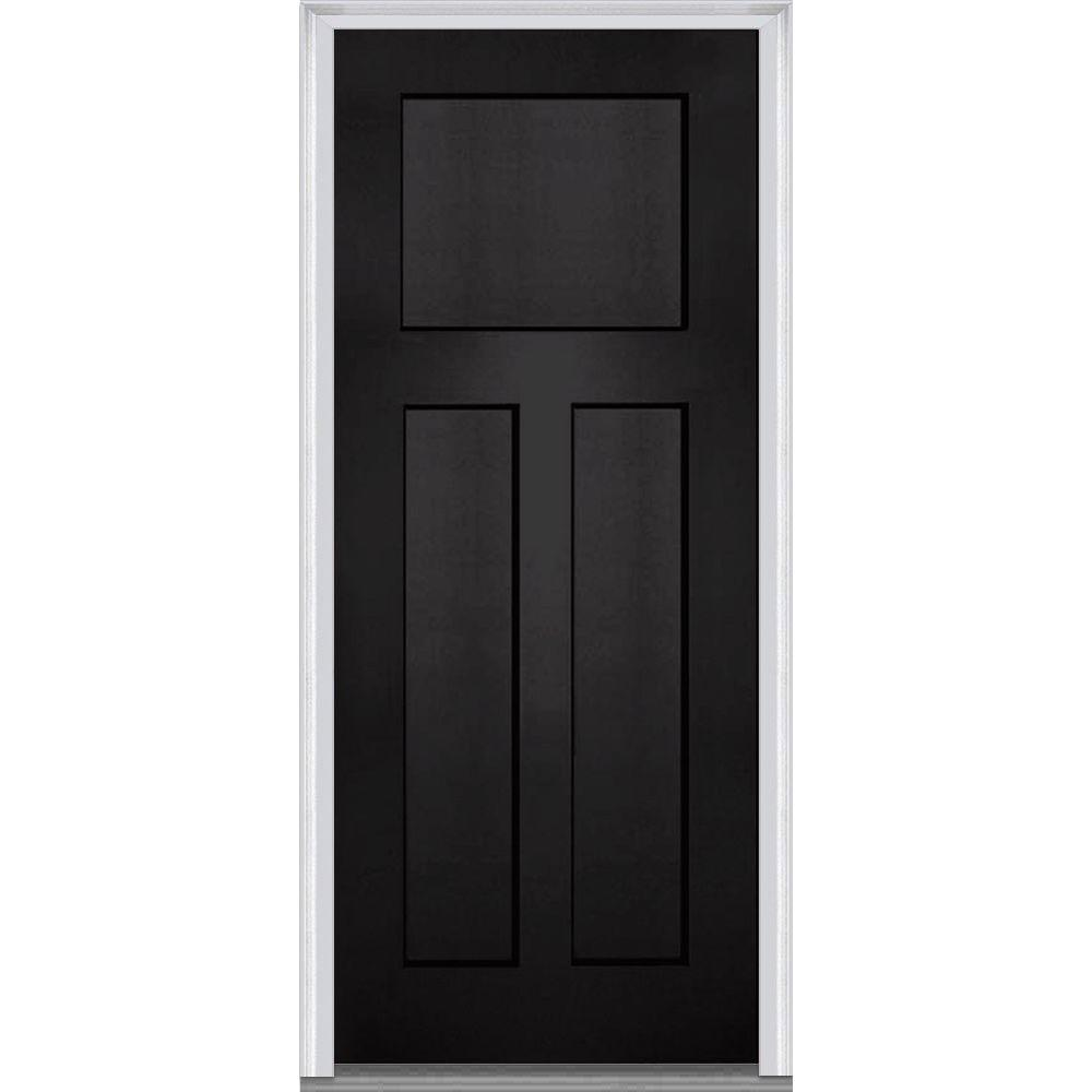 MMI Door 36 in. x 80 in. Left-Hand Inswing Craftsman 3-Panel Shaker Classic Painted Fiberglass Smooth Prehung Front Door