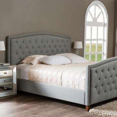 Jessie Transitional Gray Fabric Upholstered King Size Bed