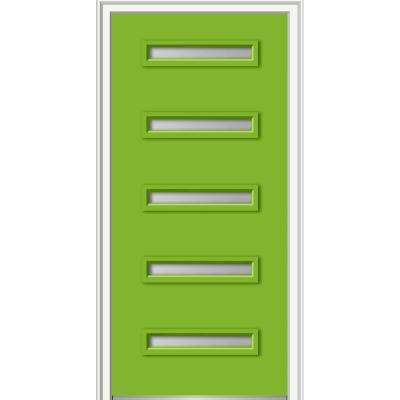 36 in. x 80 in. Davina Left-Hand Inswing 5-Lite Frosted Glass Painted Fiberglass Smooth Prehung Front Door