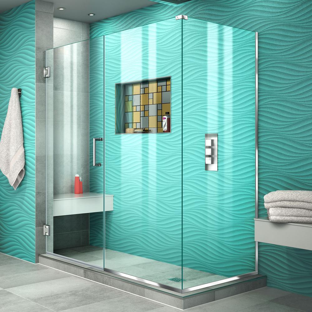 Dreamwerks 37.4 in. x 79 in. Frameless Neo-Angle Hinged Shower Door ...