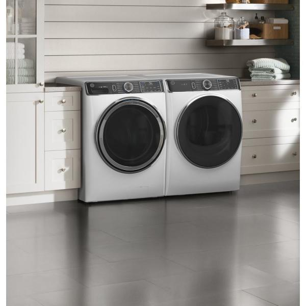 Ft GE 7.8 Cu Capacity White Smart Front Load Electric Dryer with Steam