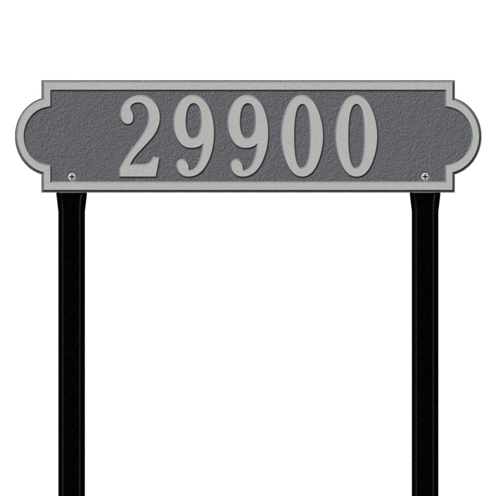 Whitehall Products Richmond Rectangular Pewter/Silver Estate Lawn One Line Horizontal Address Plaque