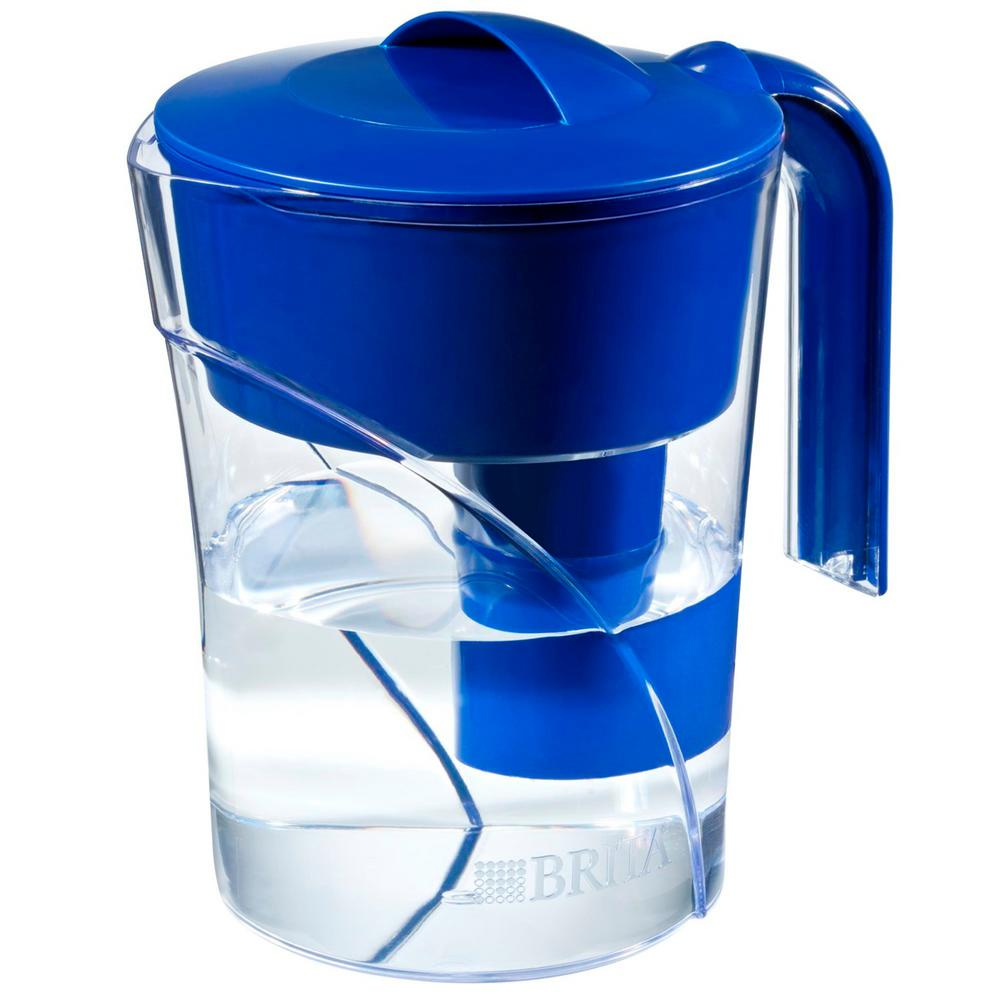 Brita Six 8 Oz Glasses Mist Water Filter Pitcher In Dark Blue