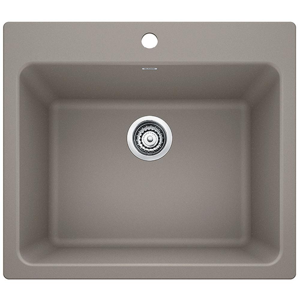 LIVEN SILGRANIT Granite Composite 25 in. x 22 in. Dual Mount Laundry Sink in Truffle