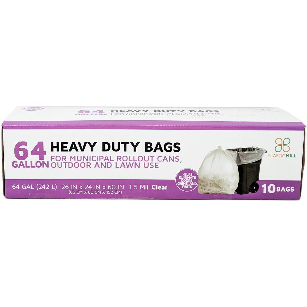 50 in. W x 60 in. H 64 Gal. 1.5 mil Clear Trash Bags (10-Case)