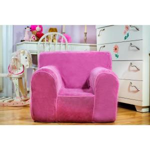 Kids Regular Size Foam Chair With Pink Plush Cover
