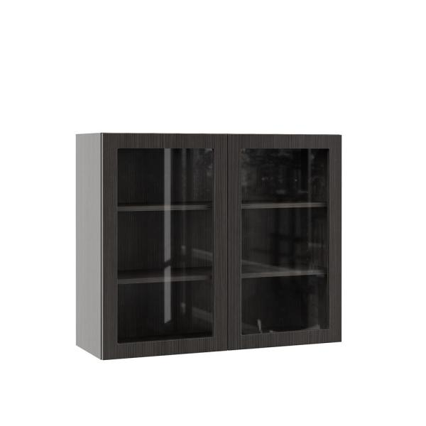 Hampton Bay Designer Series Edgeley Assembled 36x30x12 In Wall Kitchen Cabinet With Glass Doors In Thunder Wgd3630 Edth The Home Depot