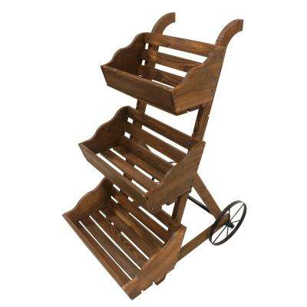 3-Tier Garden Cart Wood Planter