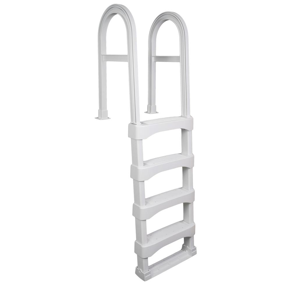 Blue Wave White Snap-Lock Deck Ladder for Above-Ground Pools