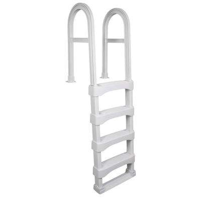 White Snap-Lock Deck Ladder for Above-Ground Pools