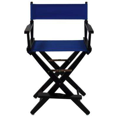 Extra-Wide 24 in. Black Frame/Royal Blue Canvas American Hardwood Directors Chair