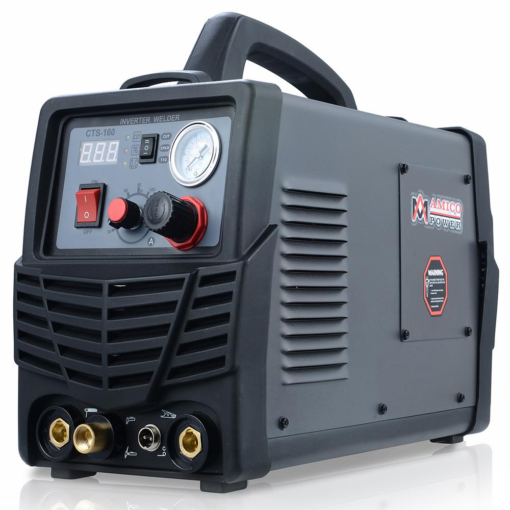 AMICO POWER Plasma Cutter/TIG/Stick Arc 3 in.-1 Combo DC Welder 30 Amp-Plasma Cutter, 160A-TIG-Torch, 140A-Stick Arc Welding Machine
