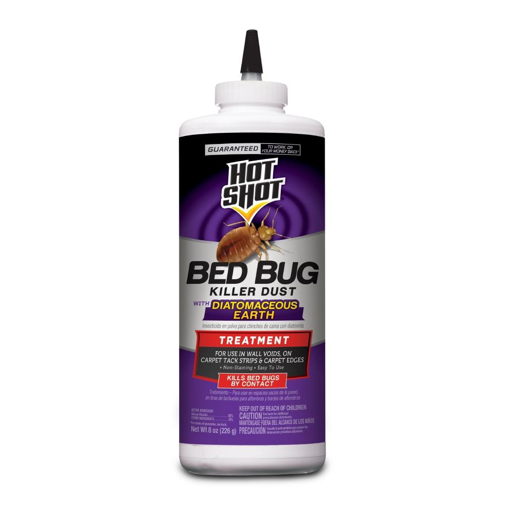 Hot Shot Bed Bug Killer 8 oz Dust Treatment With Diatomaceous Earth