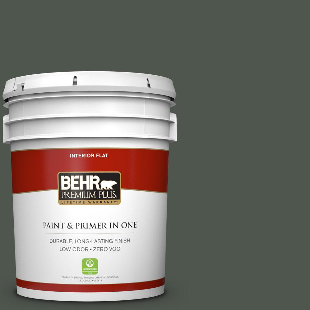 5 gal. #ECC-47-3 Twilight Forest Zero VOC Flat Interior Paint