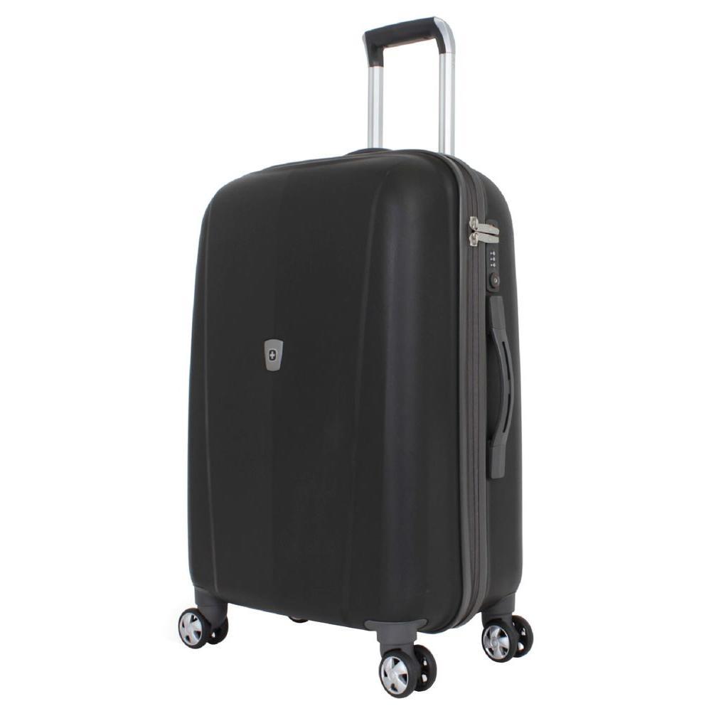 24 in. Upright Hardside Spinner Suitcase in Black