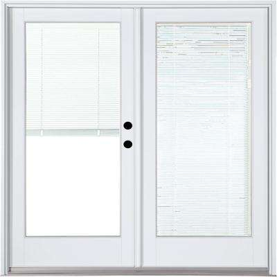 60 in. x 80 in. Fiberglass Smooth White Left-Hand Inswing Hinged Patio Door with Low E Built in Blinds
