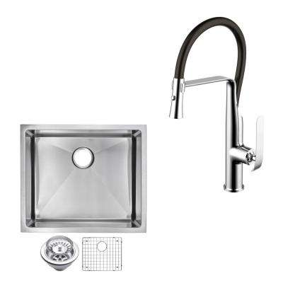 All-in-One Undermount Stainless Steel 23 in. Single Bowl Kitchen Sink with Faucet in Chrome Sink Kit