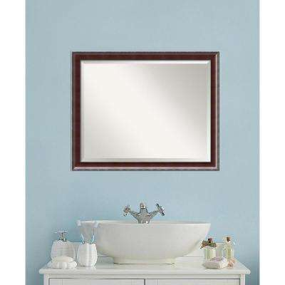 Country Walnut Wood 31 in. W x 25 in. H Traditional Bathroom Vanity Mirror