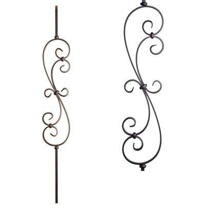 Scrolls 44 In. X 0.5 In. Satin Black Large Spiral Scroll Hollow Wrought Iron