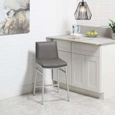 Norton 24 in. Silver and Charcoal Gray Bar Stool