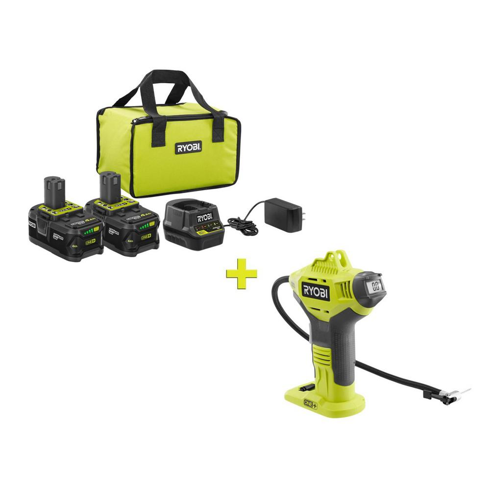 RYOBI 18-Volt ONE+ High Capacity 4.0 Ah Battery (2-Pack) Starter Kit with Charger and Bag w/FREE ONE+ Inflator w/DigitalGauge was $258.97 now $99.0 (62.0% off)