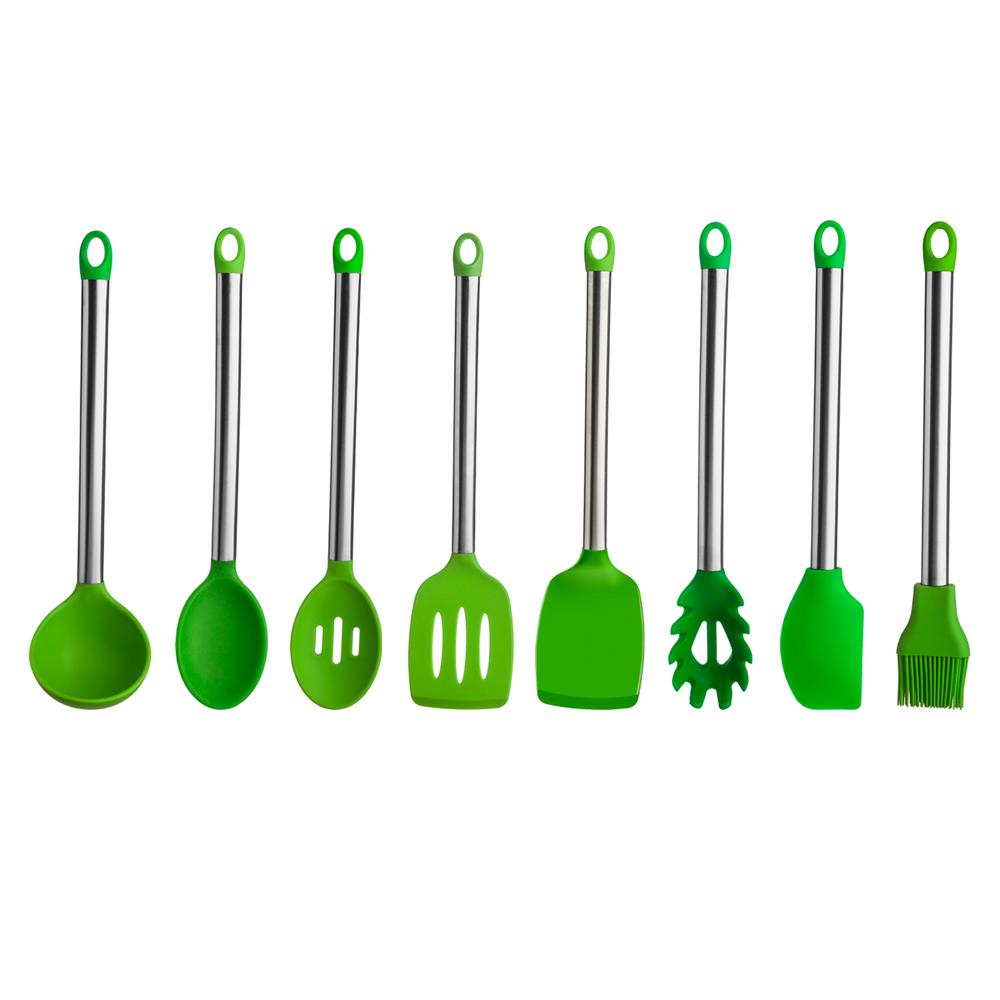 8-Piece Stainless Steel Handle Silicone Utensil Set in Green