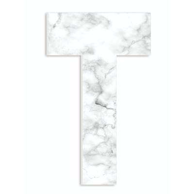 """12 in. x 18 in. """"Modern White and Grey Marble Patterned Initial T"""" by Artist Daphne Polselli Wood Wall Art"""