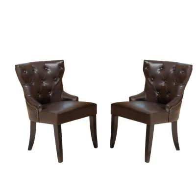 Kingdom Leather Accent Chairs (Set of 2)