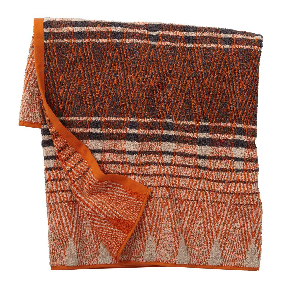 Diamond Edge Orange Geometric Cotton Fingertip Towel (Set of 2)