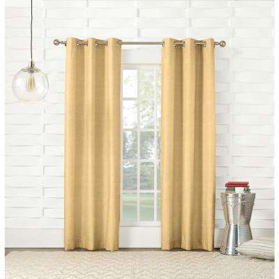 L Yellow Thermal Lined Pole Top Curtain