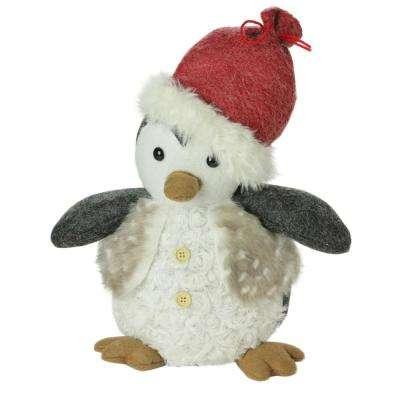 12 in. Plush Christmas Sitting Penguin in Faux Fur Vest and Red Beanie Santa Hat