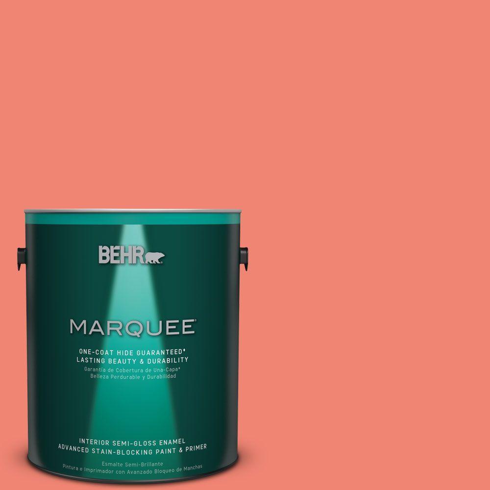 1 gal. #T16-07 Coralette Semi-Gloss Enamel Interior Paint