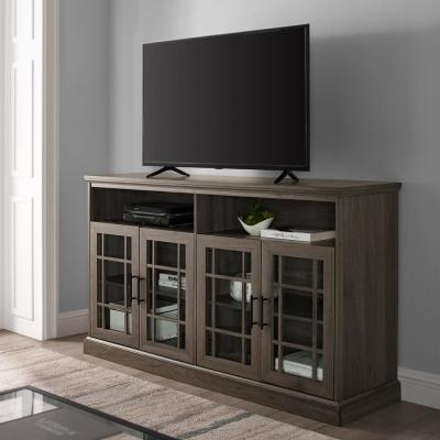 58 in. Slate Gray Wood TV Stand Fits TVs Up to 64 in. with Storage Doors
