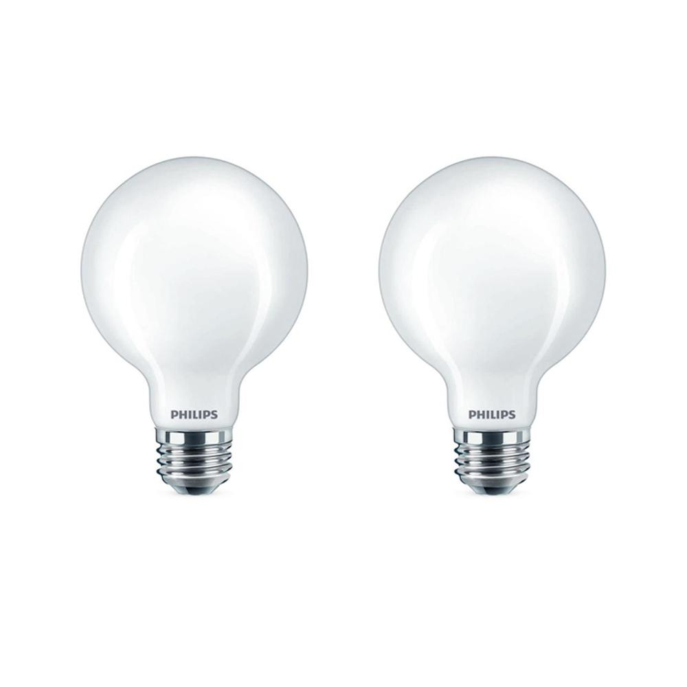 Philips 60-Watt Equivalent G25 Dimmable LED Light Bulb Daylight Frosted Globe (2-Pack)