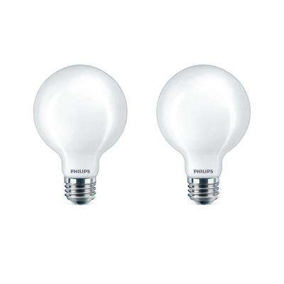 60 Watt Equivalent G25 Dimmable Led Light Bulb Daylight Frosted Globe 2 Pack